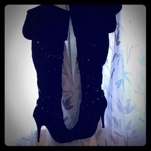 Knee High Studded Black Boots